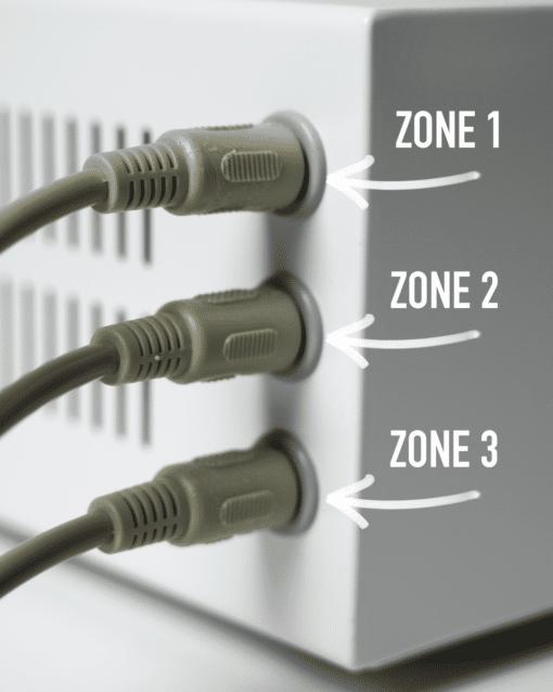 input til de 3 zoner i infrarød tæppe